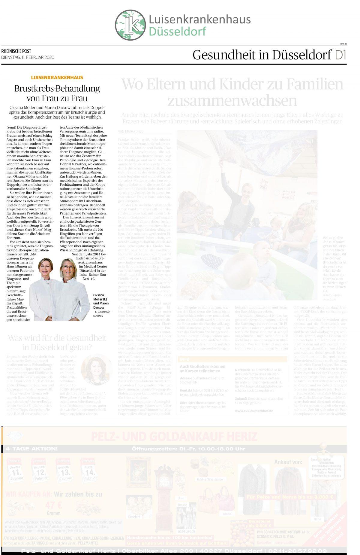 Pressemeldung über das Luisenkrankenhaus in der Rheinischen Post