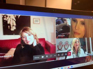 ISI-Patin Mirja du Mont (oben rechts) erzählte von Ihren Erfahrungen mit Brustkrebs in der Familie.