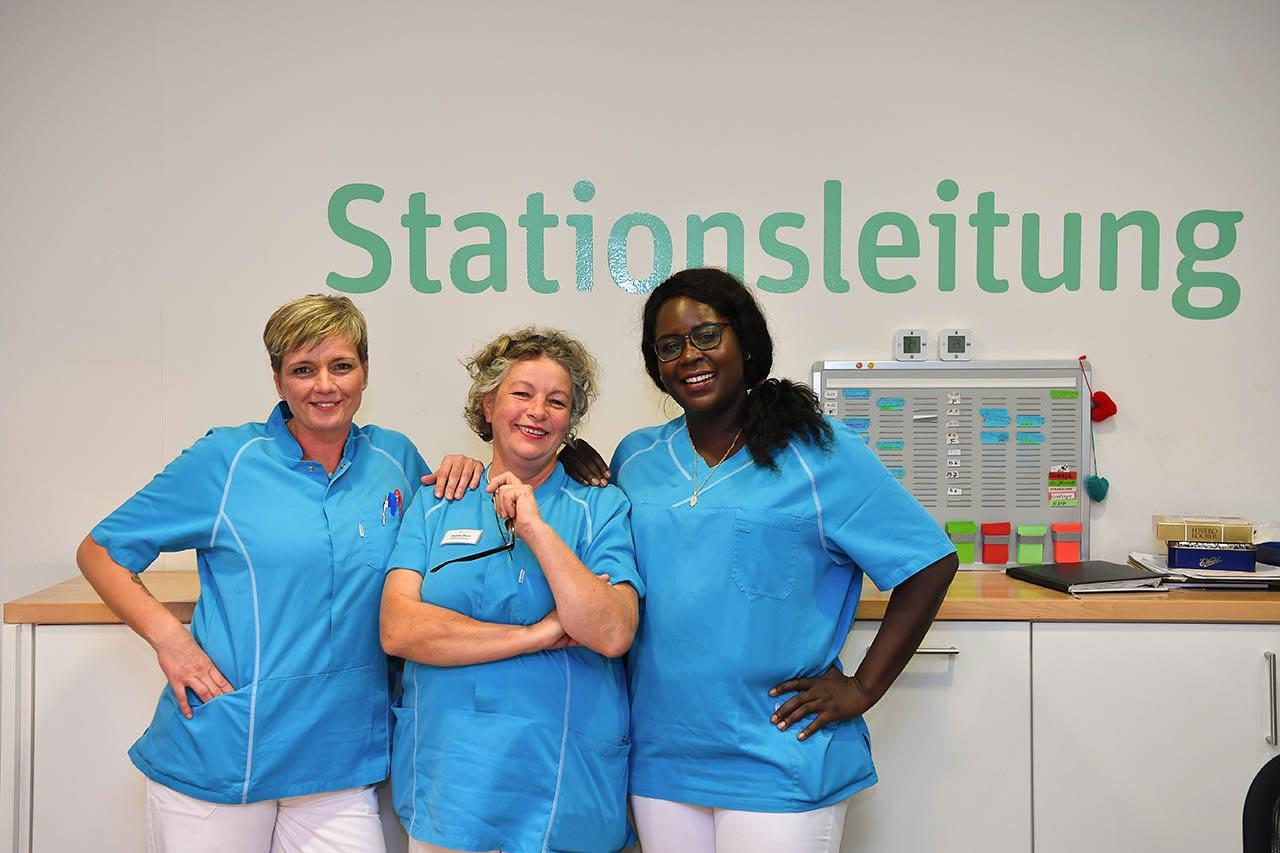 Drei Krankenschwestern auf der Station.